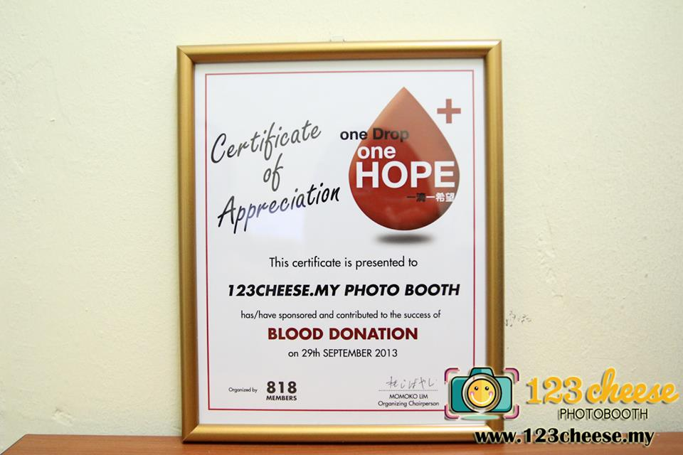One drop one hope photobooth for blood donation the certificate that one drop one hope had gave us as an appreciation yelopaper Choice Image