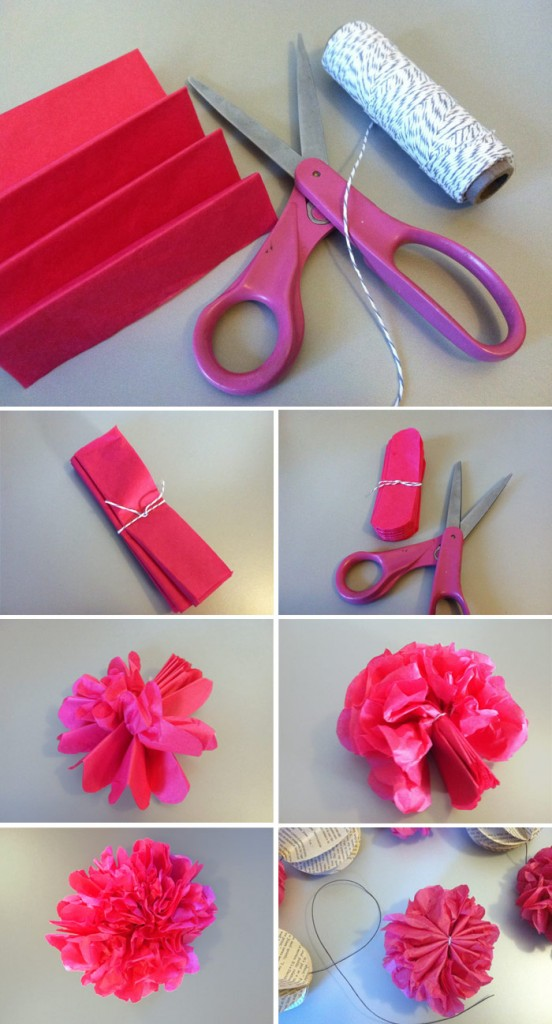Steps to create the tissure paper poof pieces.