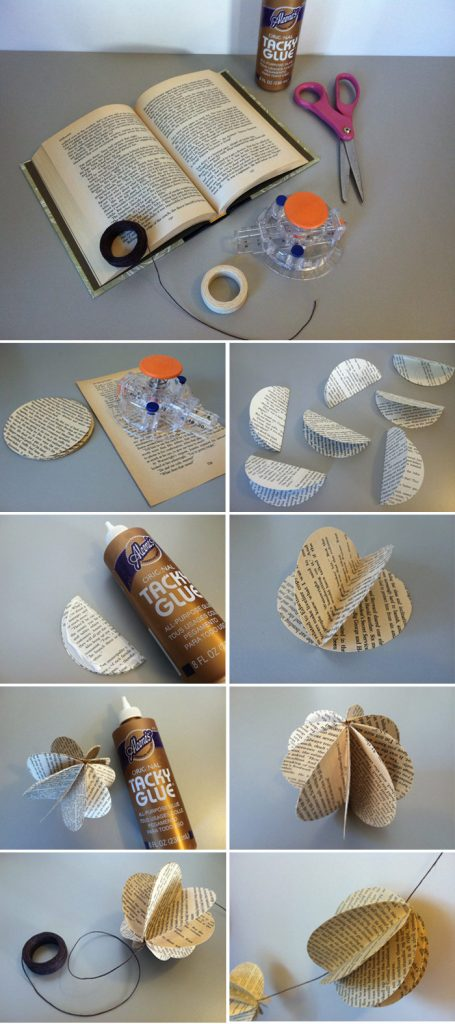 Steps to create the decorative book pieces for garland